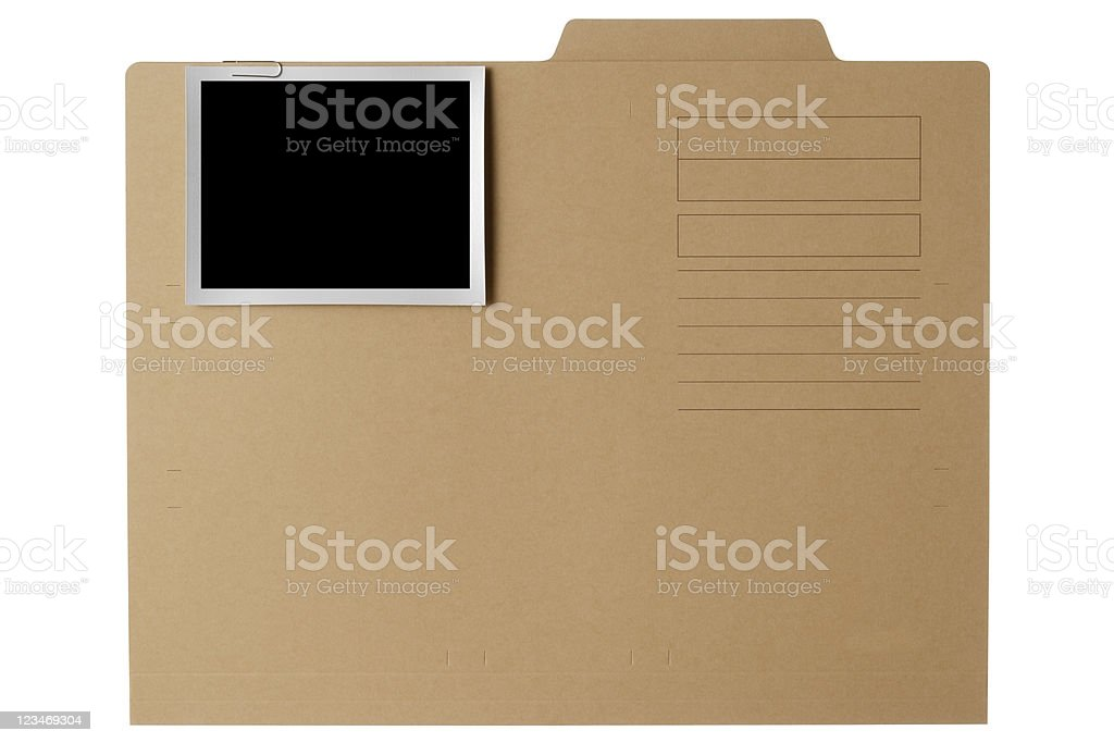 Brown paper file folder with blank photo on white background stock photo