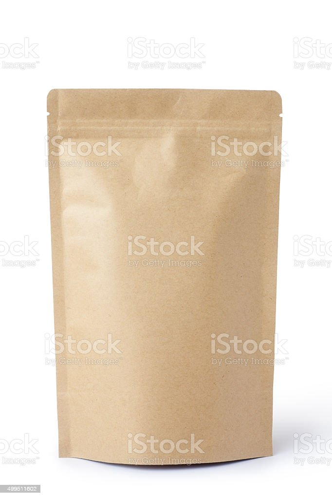 Brown paper food bag packaging stock photo