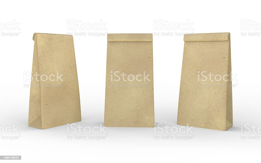 Brown paper lunch  bag isolated on white with clipping path stock photo
