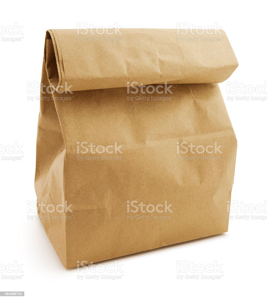 Brown paper lunch bag (with path) stock photo