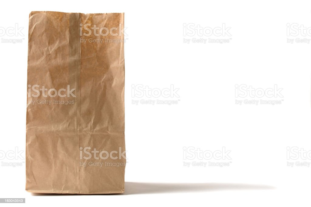 Brown Paper Lunch Bag Sack Isolated on White Background stock photo