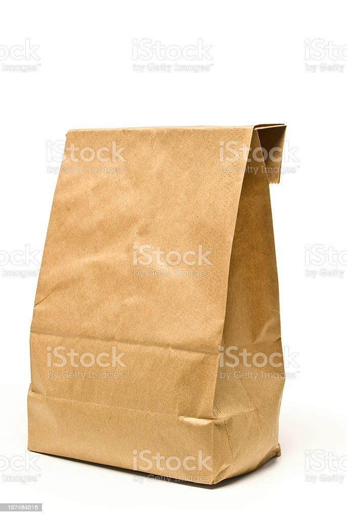 Brown Paper Lunch Bag With Shadow royalty-free stock photo
