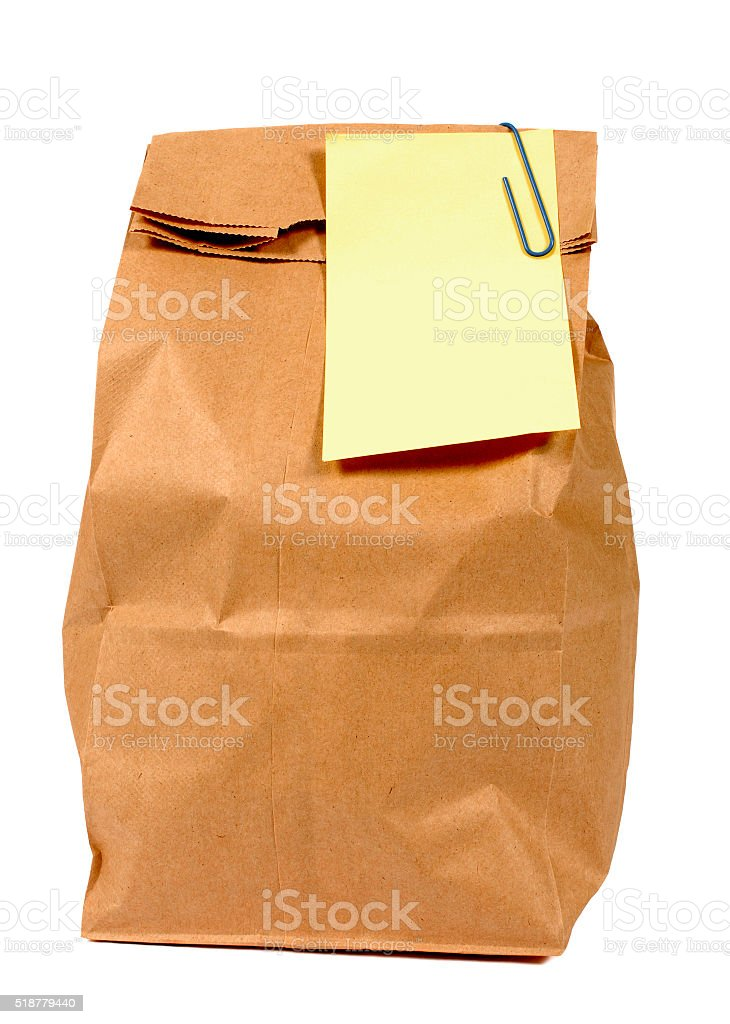 Brown paper lunch or groceries bag stock photo