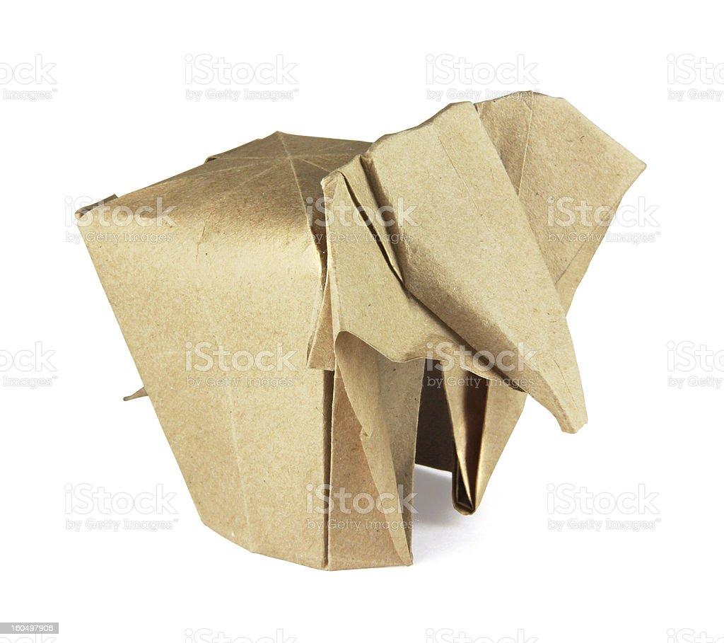 Brown paper origami elaphant royalty-free stock photo