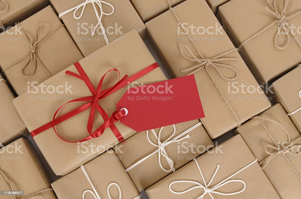 Brown paper packages and gift stock photo