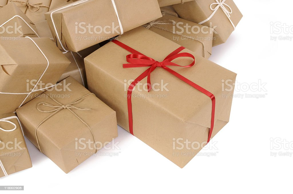 Brown paper packages stock photo