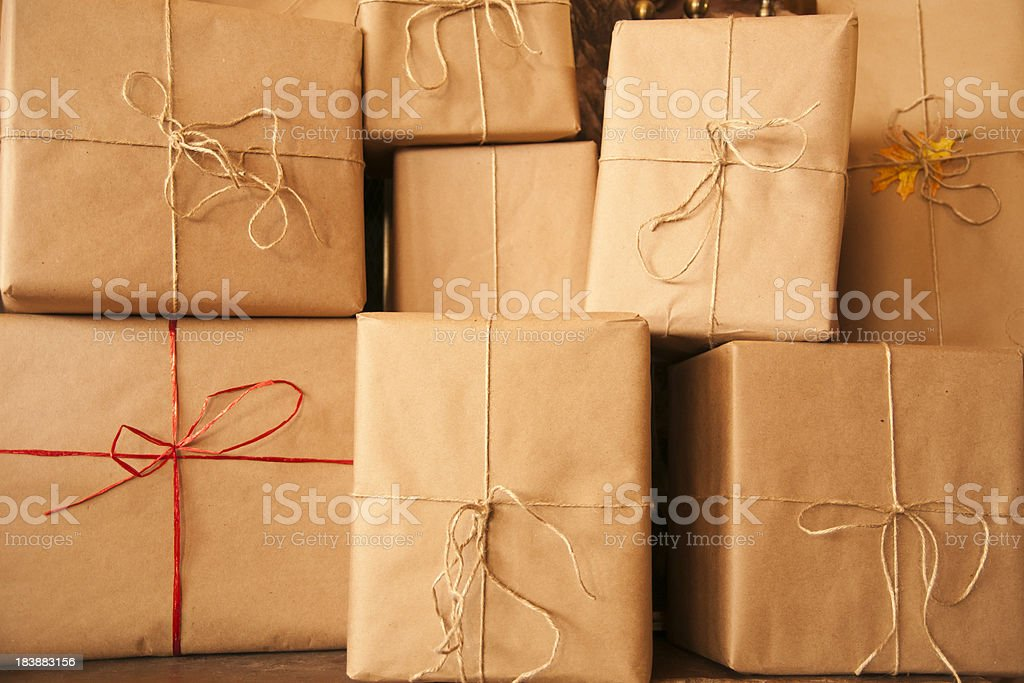 Brown Paper Packages Tied Up with String stock photo