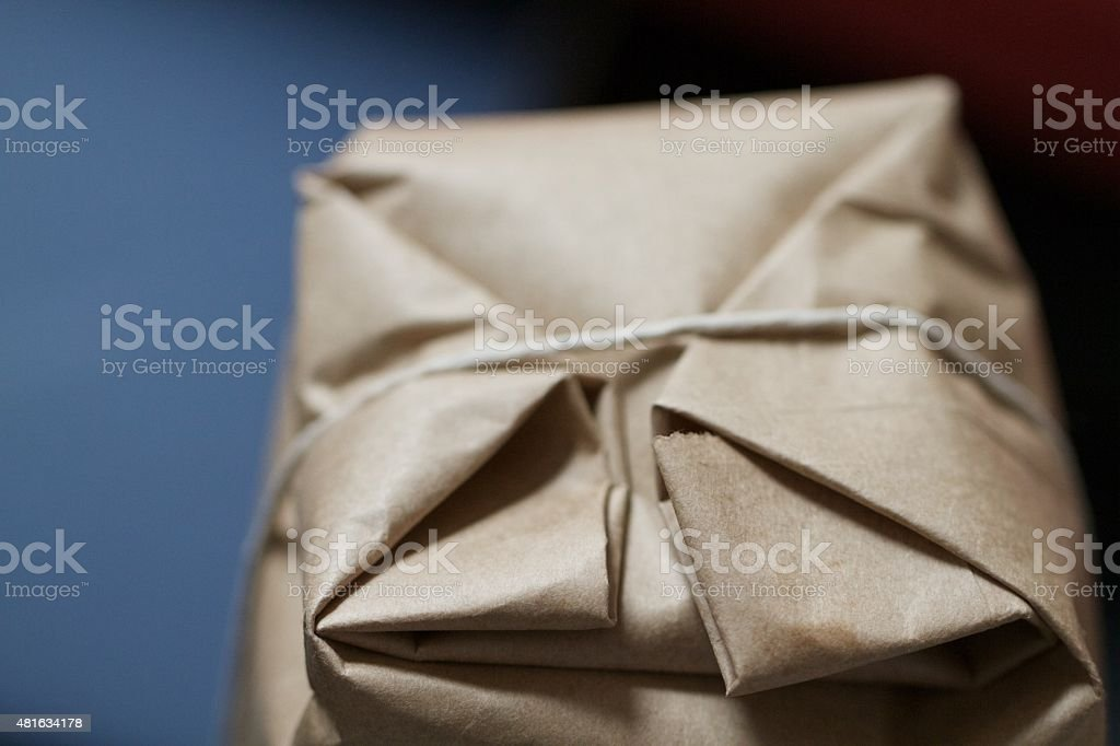 Brown paper parcel stock photo