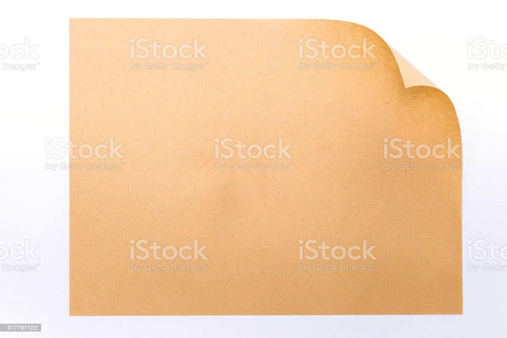 Brown paper rolled at the corner stock photo