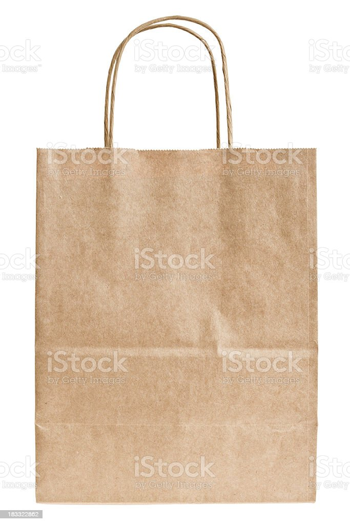 Brown Paper Sack With Handles Isolated royalty-free stock photo