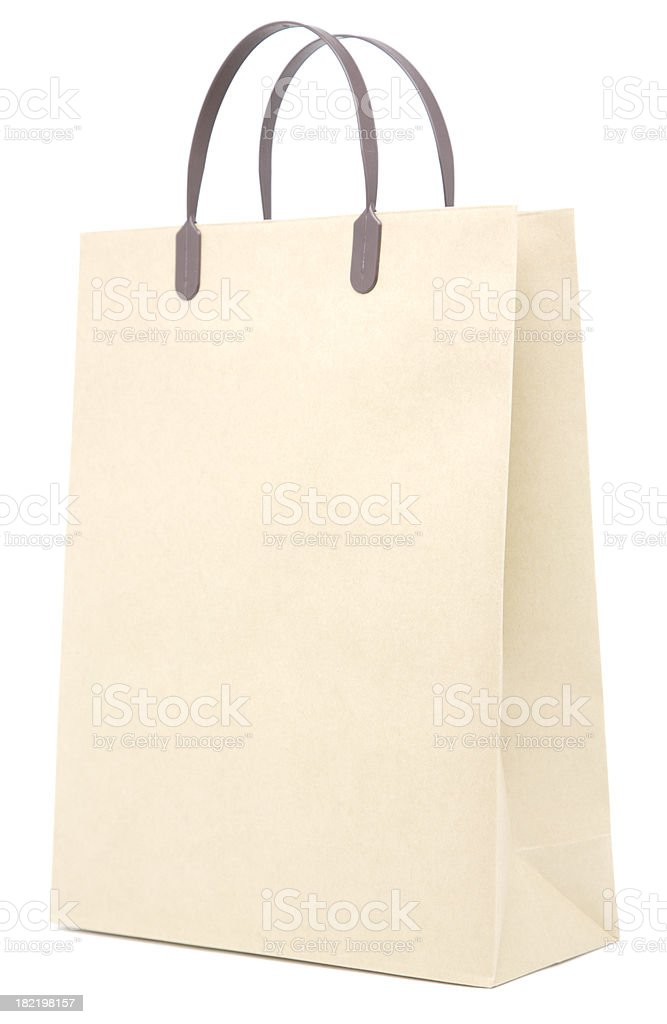 Brown paper shopping bag royalty-free stock photo