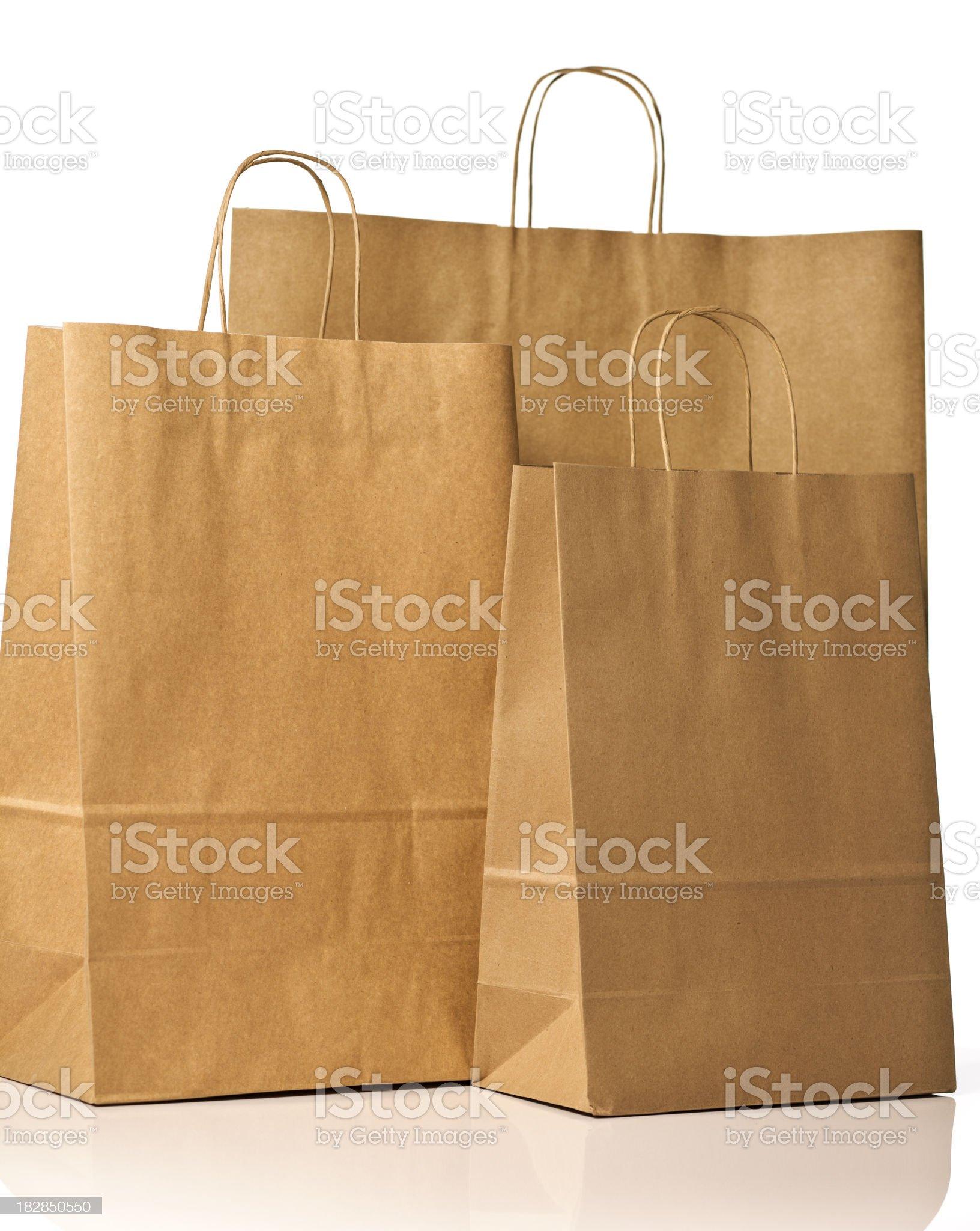 Brown paper shopping bag. royalty-free stock photo