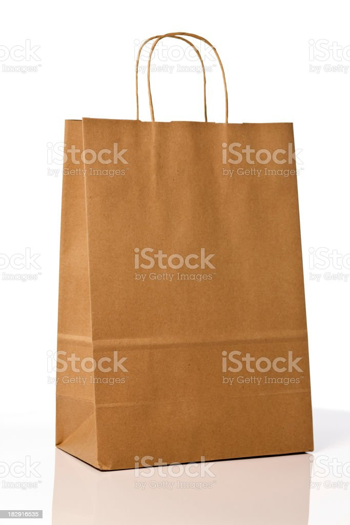 Brown paper shopping bag. royalty-free stock photo