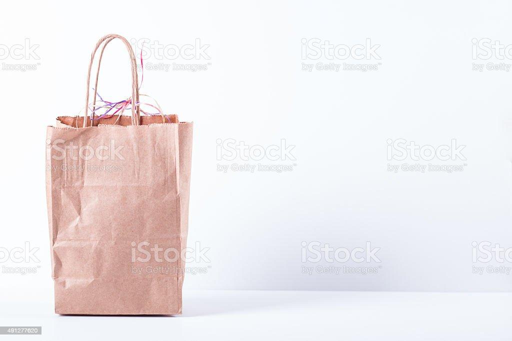 Brown Paper Shopping Bag stock photo