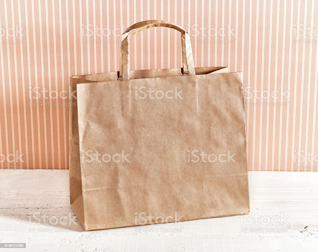 brown paper shopping bag stock photo