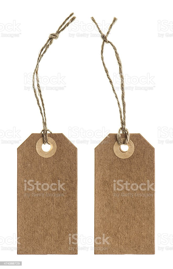 brown paper tag with string isolated on white stock photo