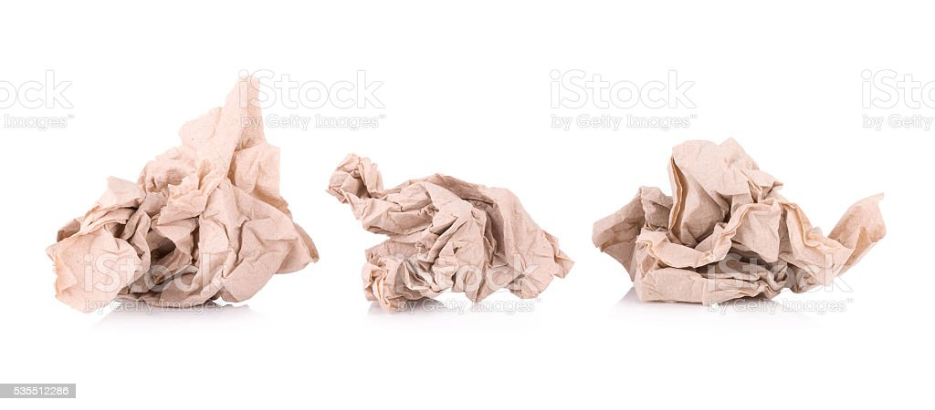 brown paper tissue isolated on white background stock photo