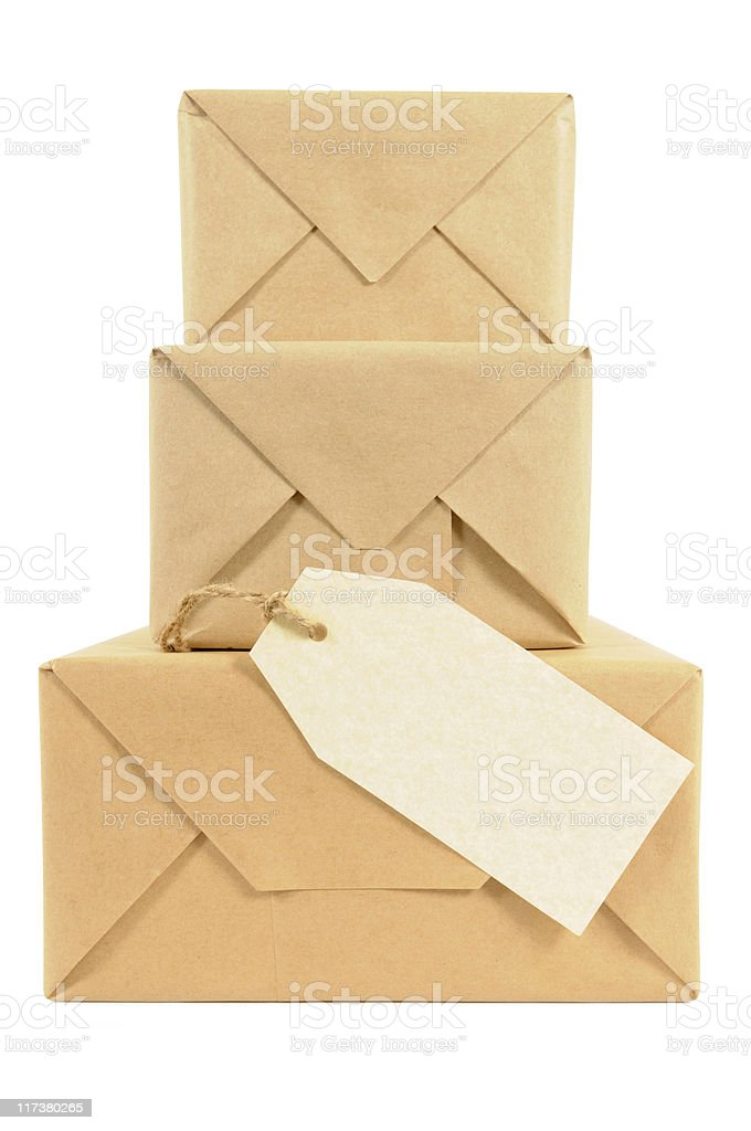 Brown paper wrapped packages royalty-free stock photo
