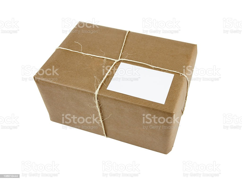 brown parcel bound with string isolated stock photo