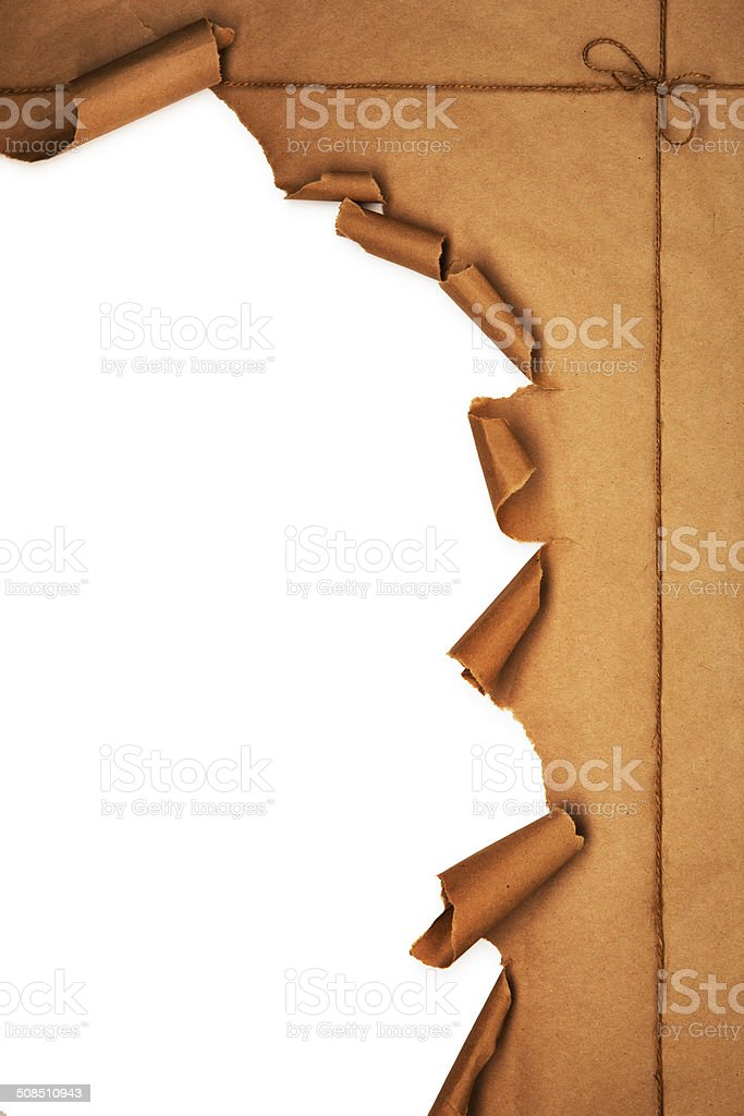 Brown Parcel Package Torn Open stock photo