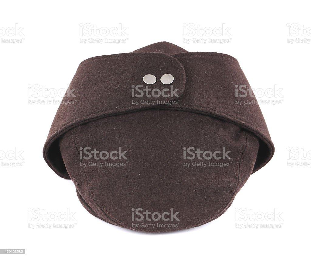 Brown peaked cap. stock photo