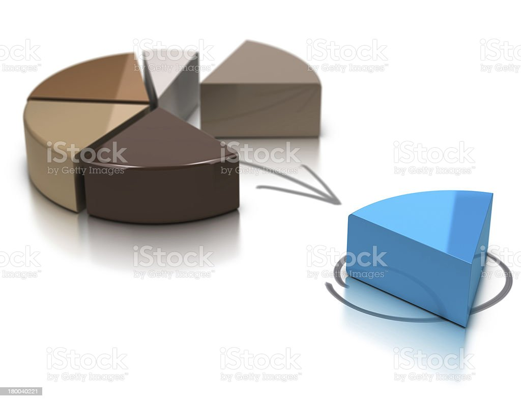 Brown pie chart with blue piece apart from the group stock photo