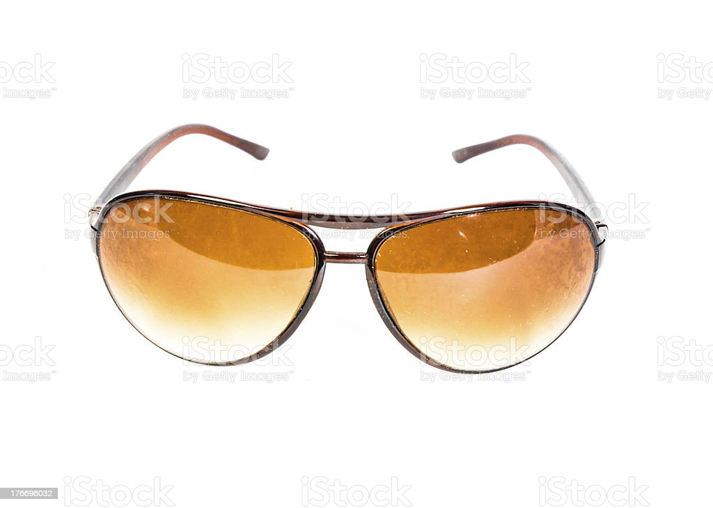 brown plastic sunglasses isolated royalty-free stock photo