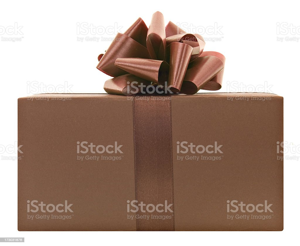 Brown present with a bow royalty-free stock photo