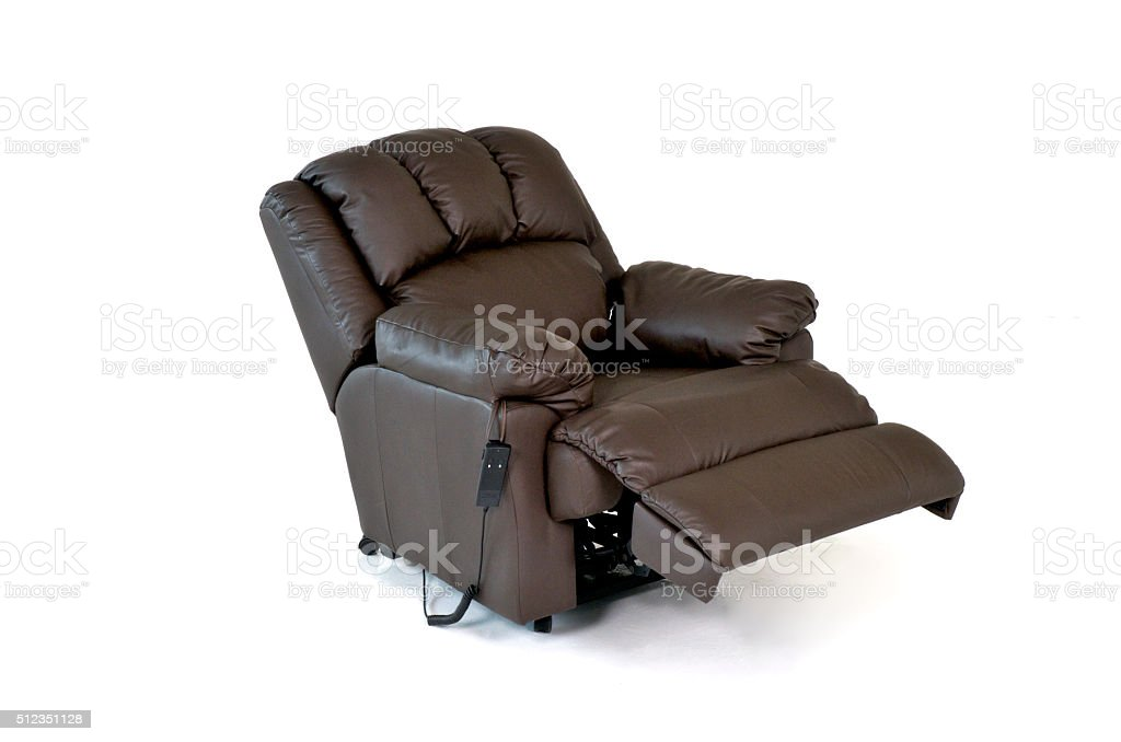 Brown reclining leather chair stock photo