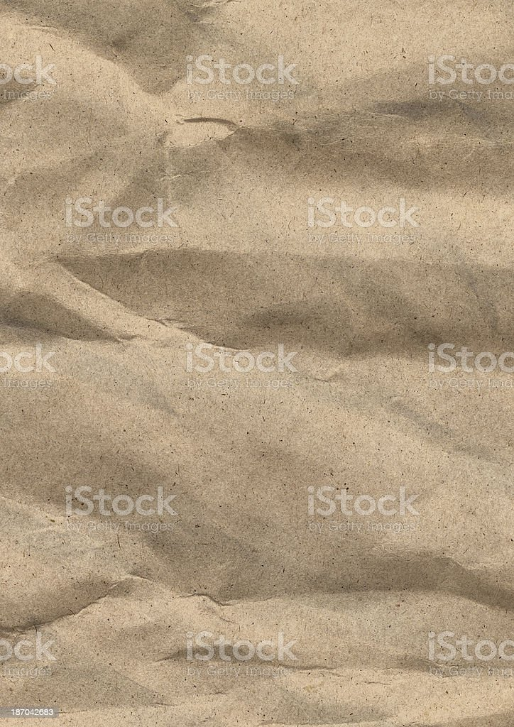 Brown Recycled Kraft Paper Crumpled Grunge Texture royalty-free stock photo