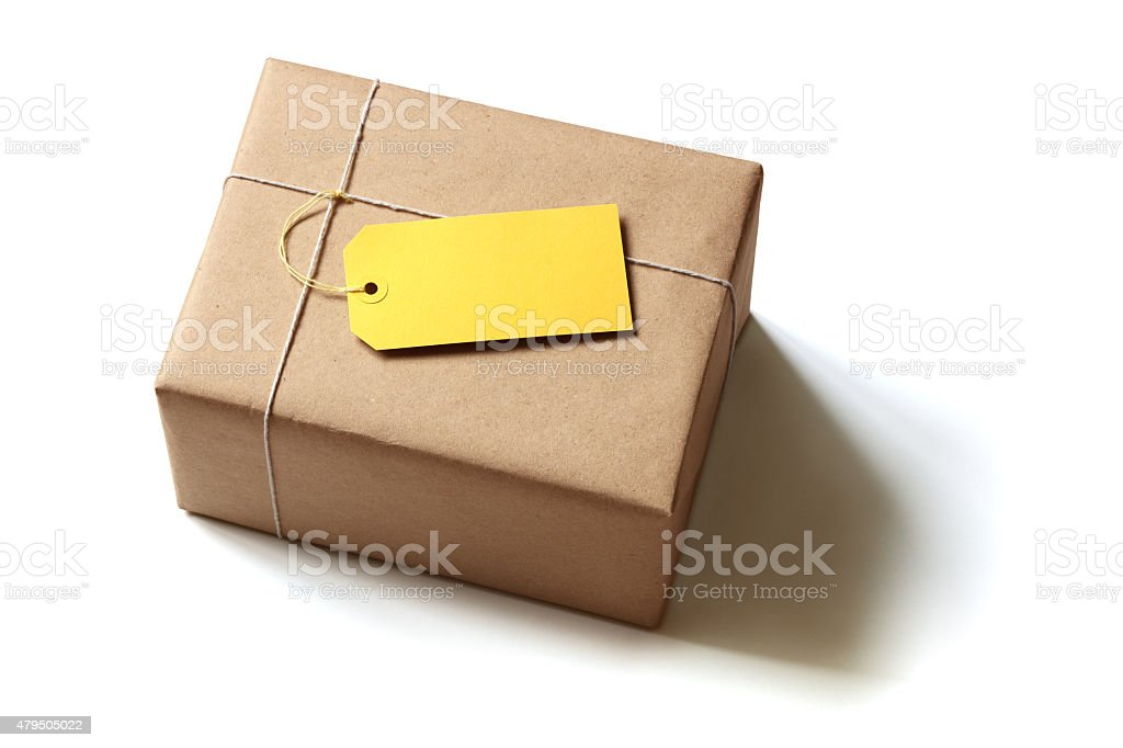 Brown recycled paper gift parcel stock photo