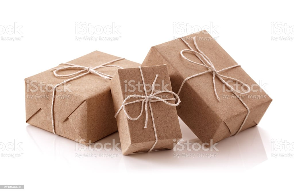 Brown recycled paper gift parcels stock photo