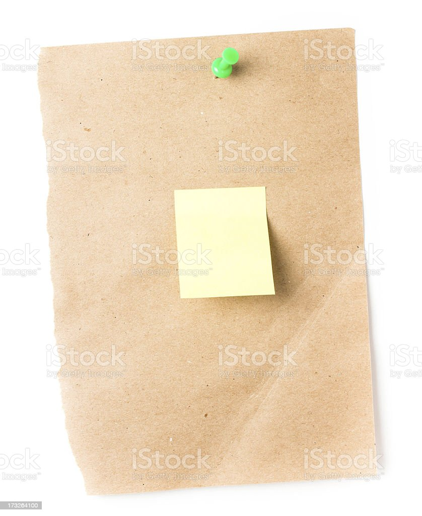 Brown Recycled paper sticky note With Push Pin royalty-free stock photo