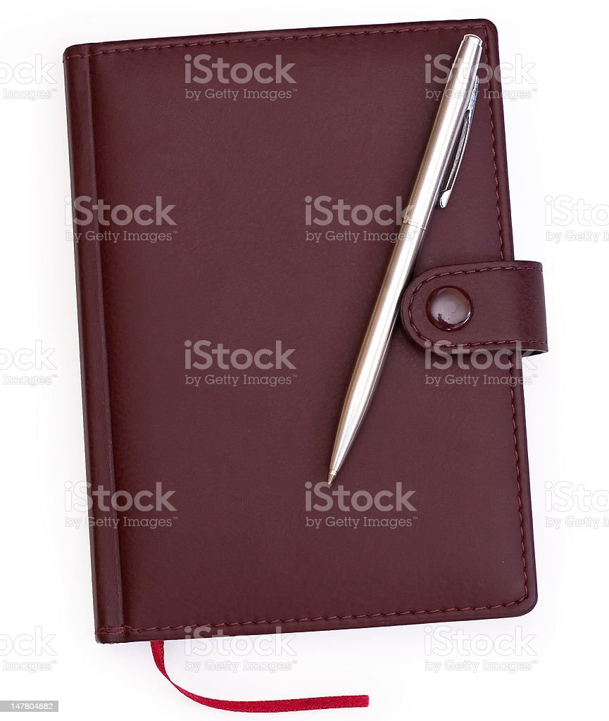 brown red leather notebook with pen vector art illustration