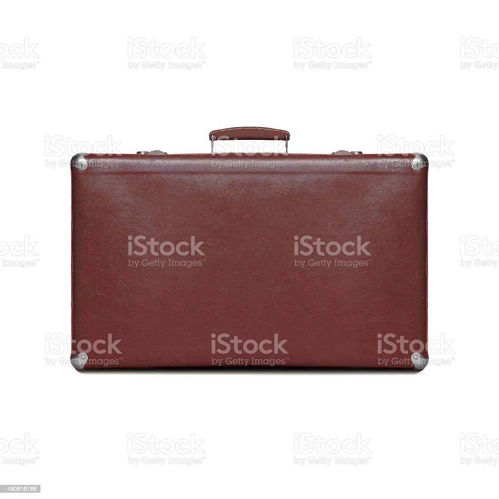 Brown retro vintage suitcase isolated on a white background stock photo