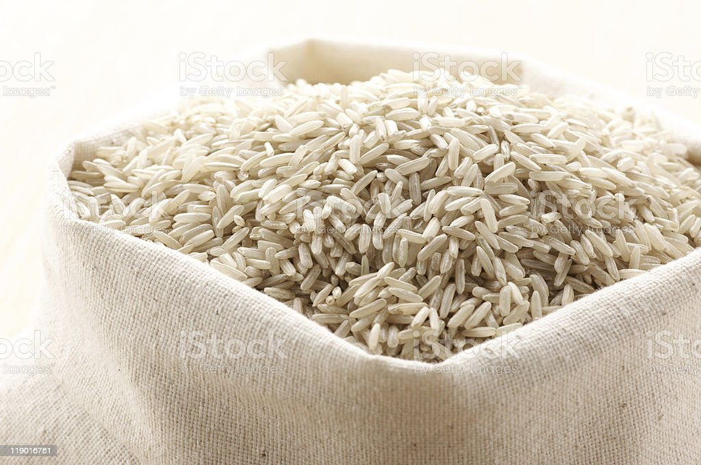Brown rice in bag royalty-free stock photo