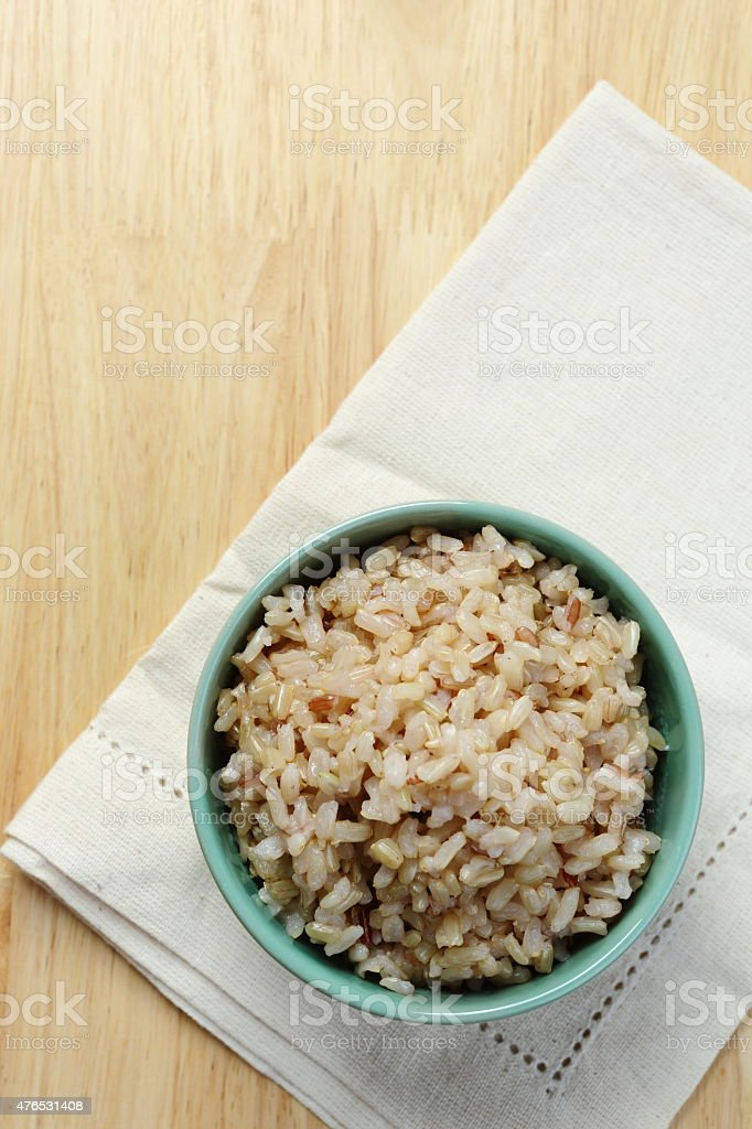 Brown Rice on Napery stock photo