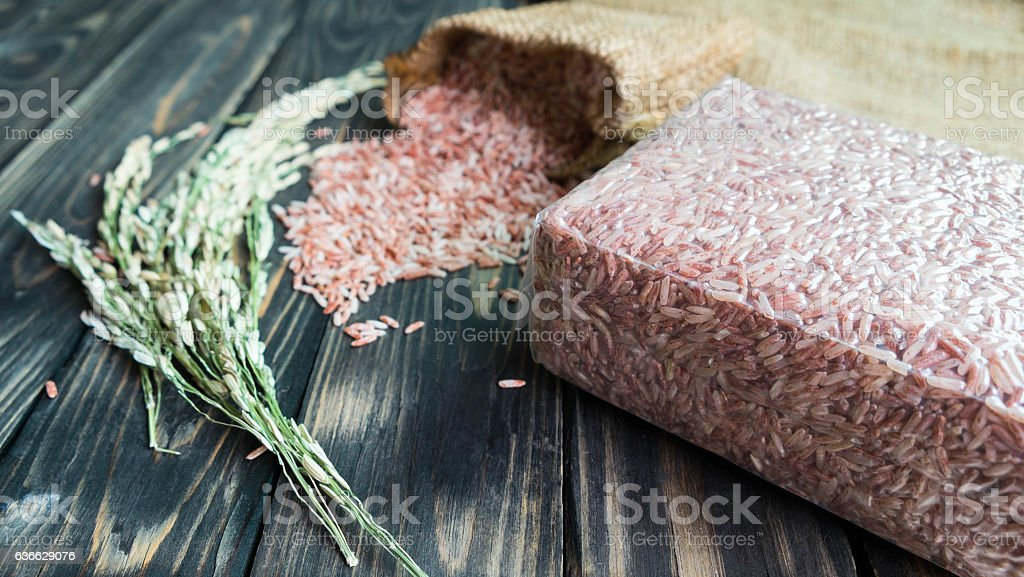 brown rice pack stock photo