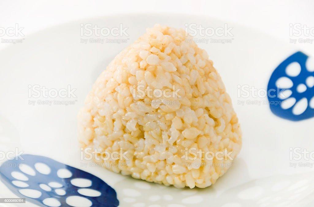 brown rice rice ball stock photo