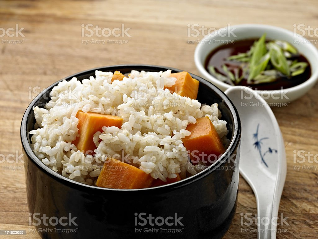 Brown Rice with Sweet Potato. royalty-free stock photo