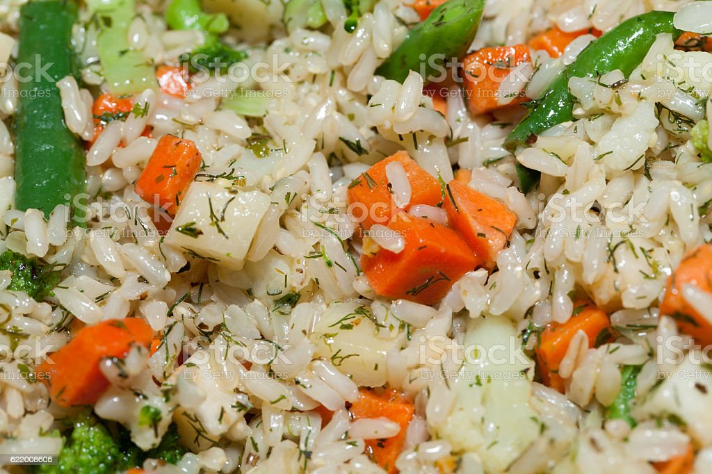 brown rice with vegetable stock photo