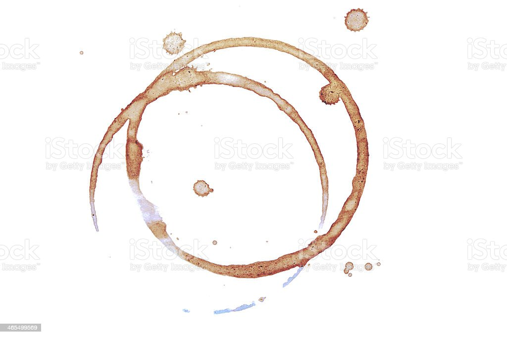 Brown ring stains of a coffee cup stock photo