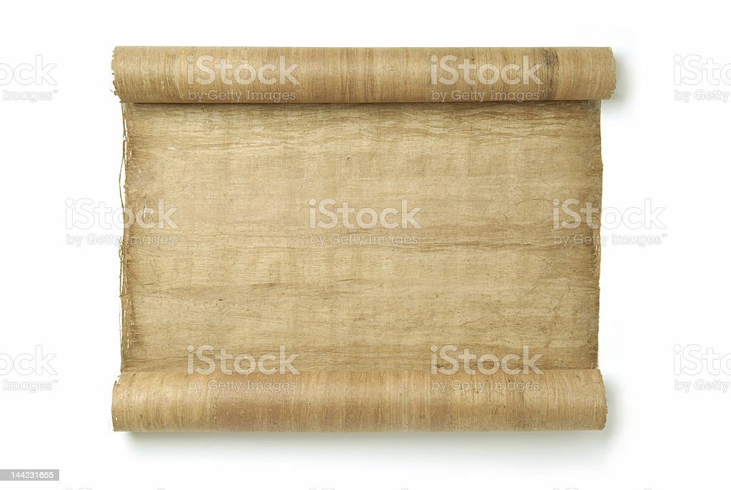 A brown rolled vintage scroll on a white background royalty-free stock photo