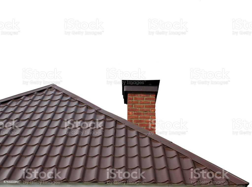 Brown roof of  house in the form of  triangle is assembled stock photo