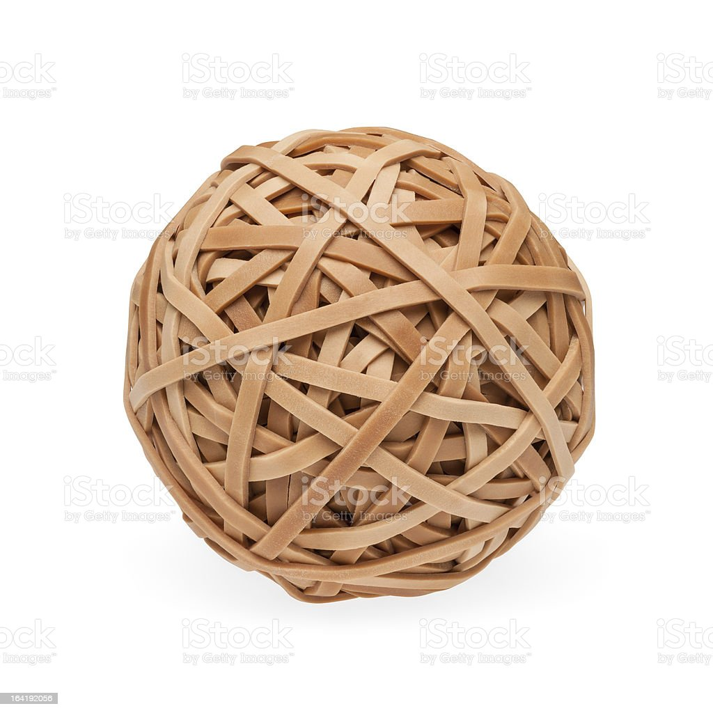 Brown rubberband ball with path stock photo
