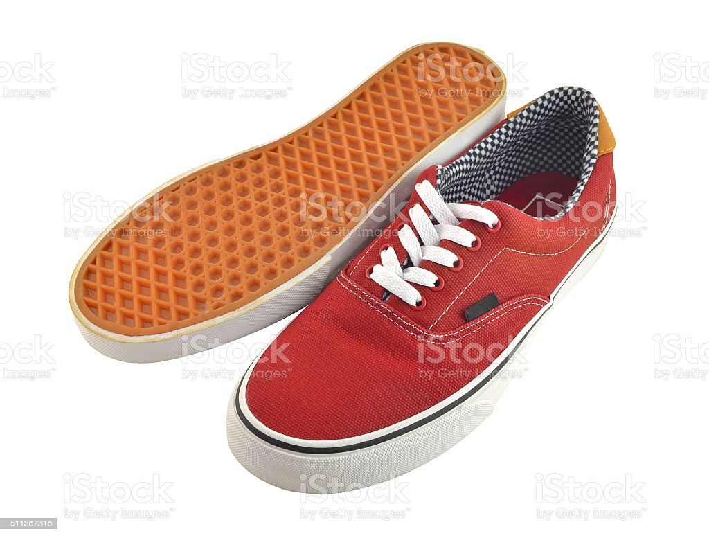 Brown shoes with white laces stock photo