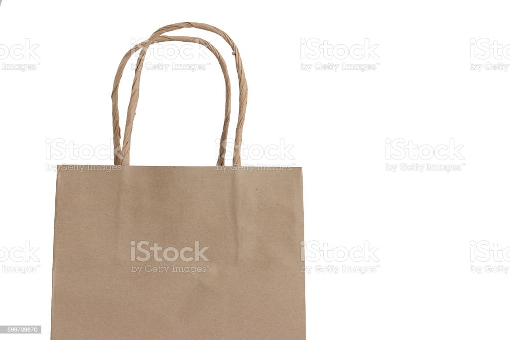 Brown Shopping Bag with Handles on White Background stock photo
