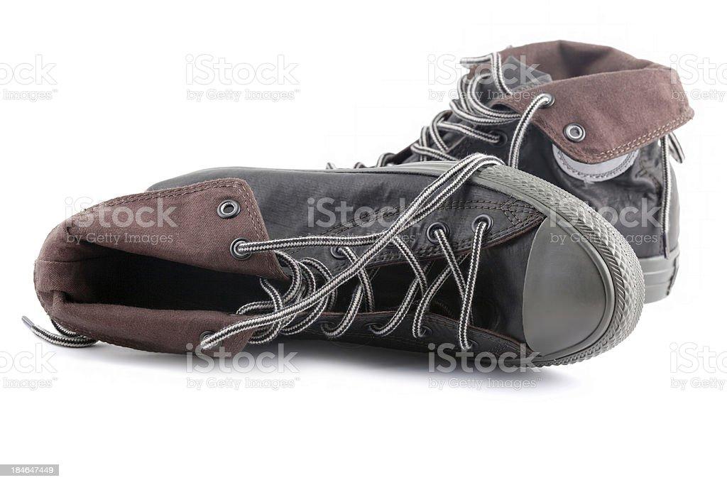 Brown sneakers stock photo