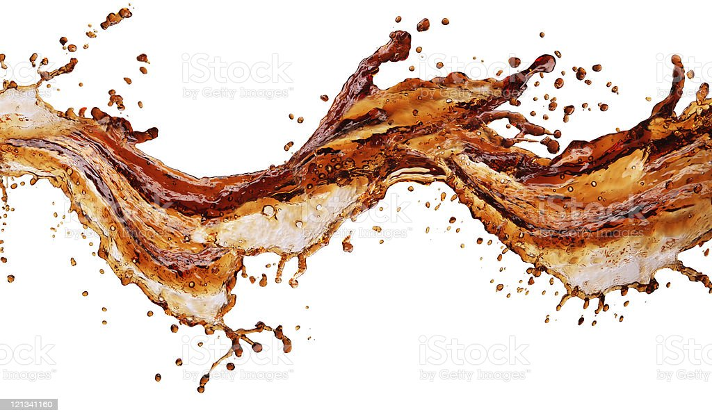 Brown soda splashed on a white background royalty-free stock photo