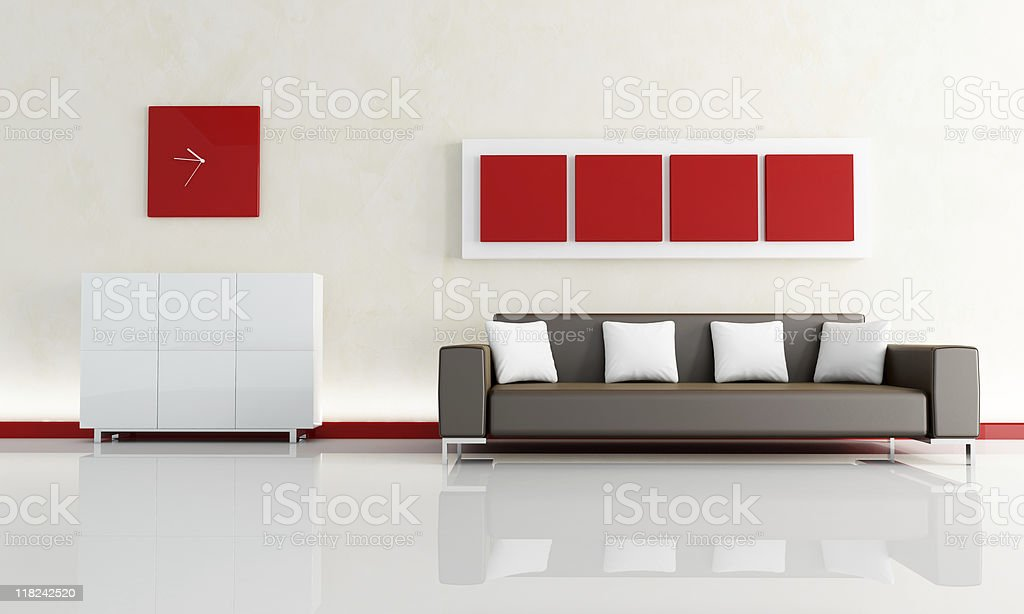 brown sofa in a modern living room royalty-free stock photo